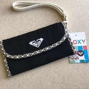 NWT ROXY trifold black and cream wallet